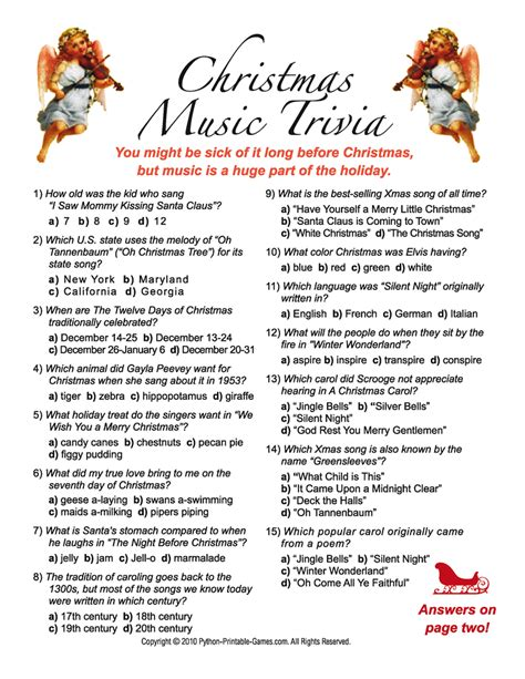 search results for free printable christmas trivia
