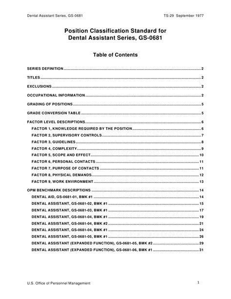 position classification standard for dental assistant