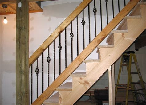 Building A Banister For Stairs Stairs Wood Basement Stair Railing Height Right Planning