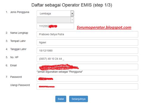 cara mendaftar akun operator pada emis tahun 2015 2016