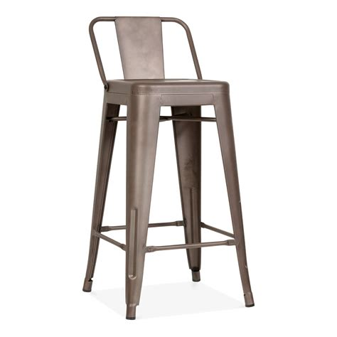 Metal Bar Stool With Back Tolix Style Metal Bar Stool With Low Back Rest Rustic 65cm Cult Uk