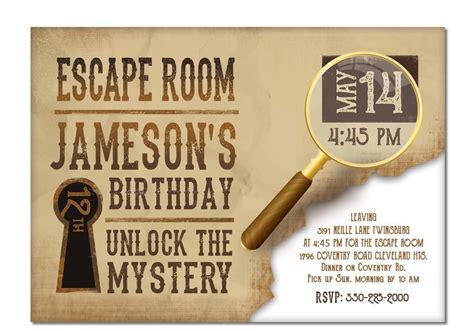 Free Escape Room Invitation Template Escape Room Invite Boys Or Girls Birthday Invitation Gold