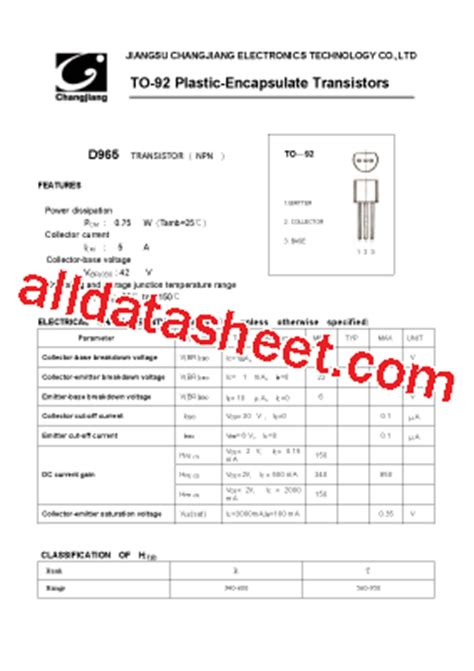 datasheet transistor d965 d965 to 92 datasheet pdf jiangsu changjiang electronics technology co ltd