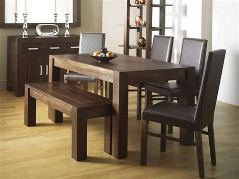 wood dining table with bench and chairs rustic dining room design with walnut wood rectangular