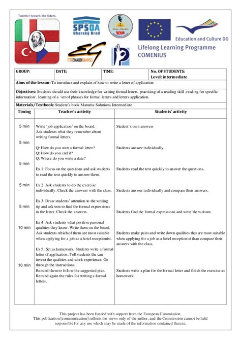 Application Letter Lesson Plan Letter Of Application Language Lesson Plan Republic