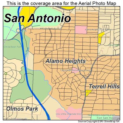 alamo texas map aerial photography map of alamo heights tx texas