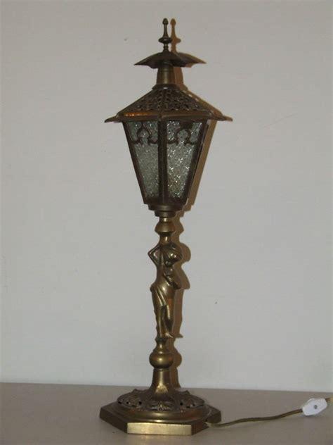 Lantern Table L Antique 21 Quot Brass Figural Lantern L Post Slag Glass Boudoir Table L Ebay
