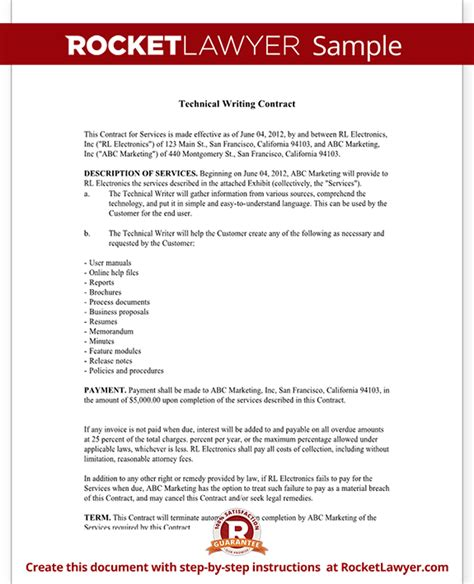 writing a contract agreement template technical writing contract agreement form with sle