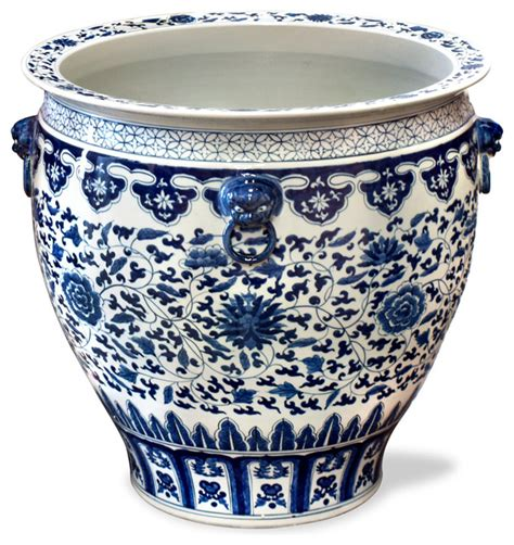 blue and white planters 24in painted blue and white canton fishbowl asian indoor pots and planters by china