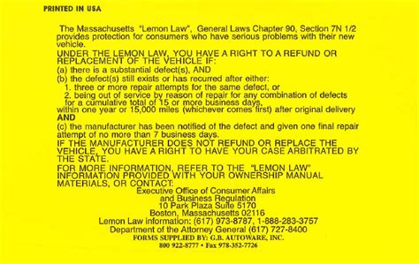 Lemon Letter To Dealer Lemon Sticker Audit Results Mass Consumer Affairs