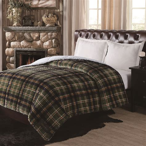 green plaid bedding remington ultra velvet green plaid comforter