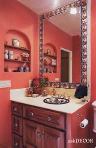 Mexican Bathroom Ideas by Colorful Mexican Tile Surround The Built In Mirror
