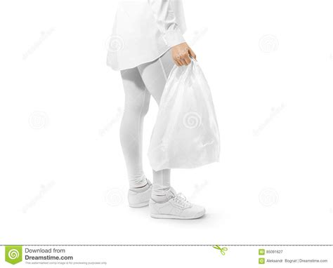 escalade commercial white guy carrying bags blank white plastic bag mockup holding hand stock image