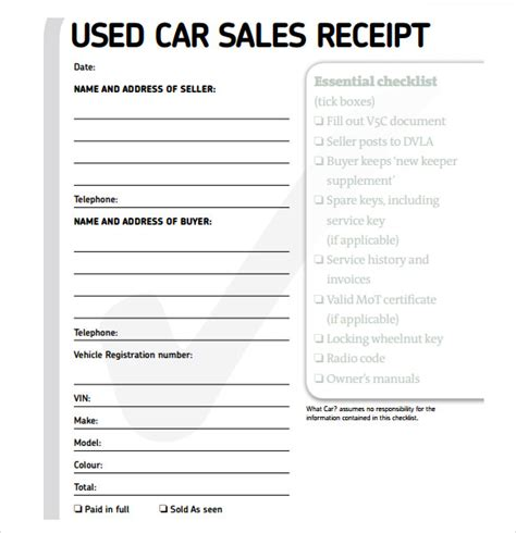 car sales deposit receipt template free used car sales templates backupattorney