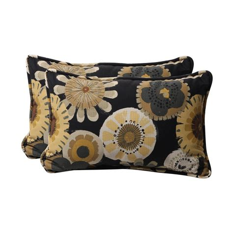 Shop Pillow Perfect Floral Black Rectangular Throw Pillow