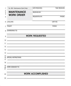 maintenance work order form template repair work order templates images