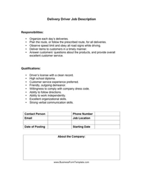 driver description template delivery driver description template