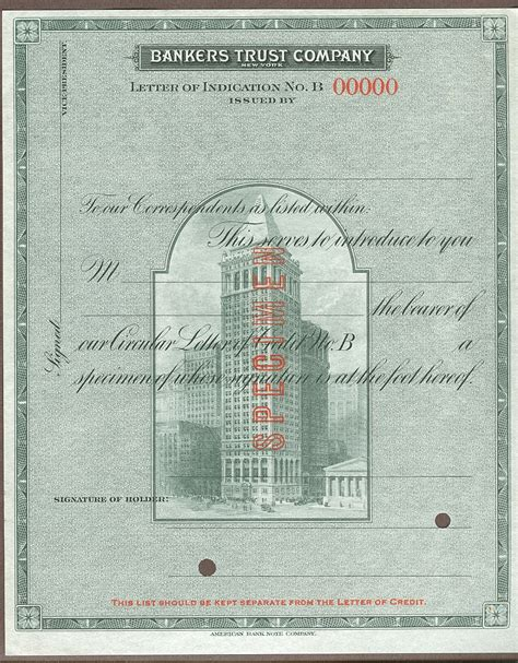Valley National Bank Letter Of Credit Bankers Trust Co Letter Of Indication B Specimen