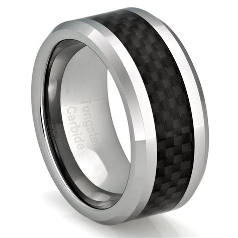 mens tungsten ring wedding band black carbon fiber jewelry
