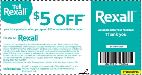 printable restaurant coupons winnipeg rexall 5 off when you spend 25 coupon until july 11