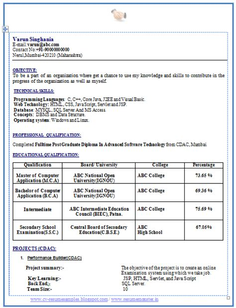 Sle Resume For Freshers Engineers Computer Science Pdf 10000 Cv And Resume Sles With Free Mca Fresher Resume Sle