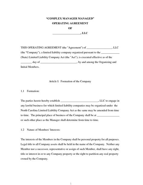 limited liability company agreement template sle limited liability company operating agreement
