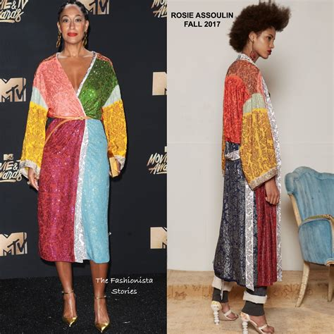 tracee ellis ross rihanna work tracee ellis ross in rosie assoulin at the 2017 mtv movie