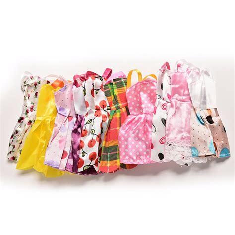 10x Kid Mini Dress Dolls Fashion Clothes Mixed Style For Pa handmade doll mini dress for doll dress slim