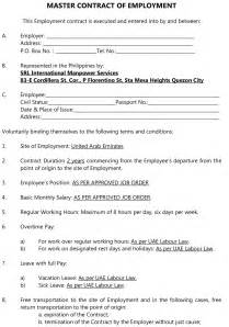 Master Contract Template by For Employers Srl International Manpower Services