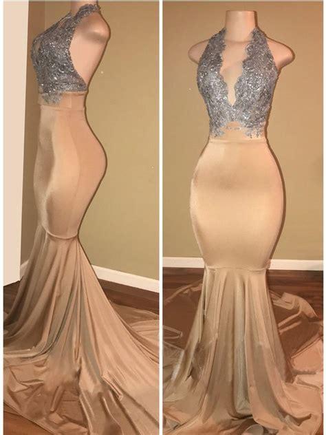 Halter Sleeveless Lace Dress luxury mermaid applique halter lace sleeveless prom