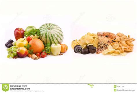 vs food junk food vs healthy food stock photos image 20972113