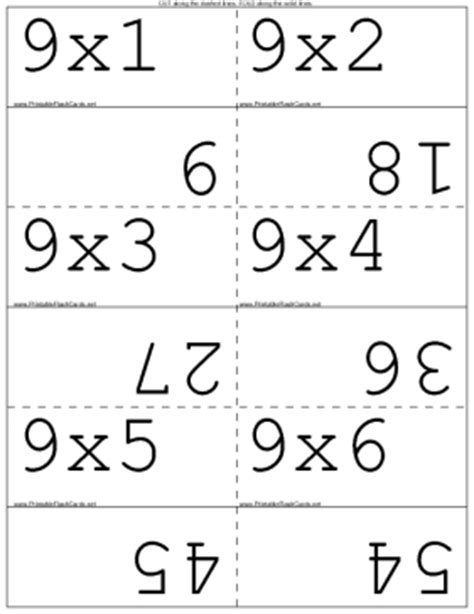 9x4 card template multiply by 9 flash cards