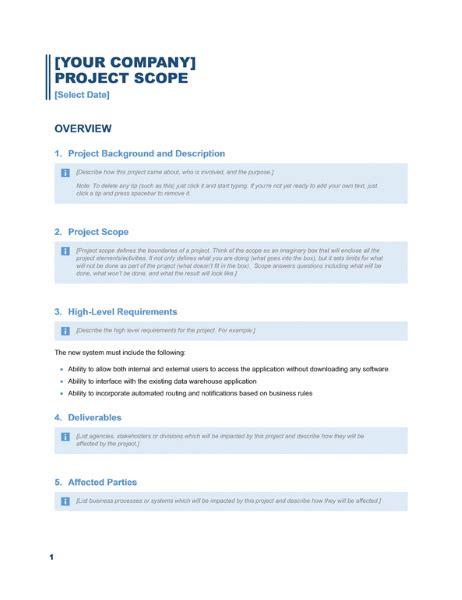 Scope Of The Report Exle project scope report business blue design