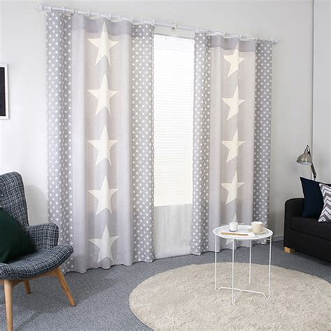 gray star print poly cotton blend ready made kids curtains