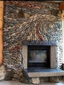 photos of river rock fireplaces