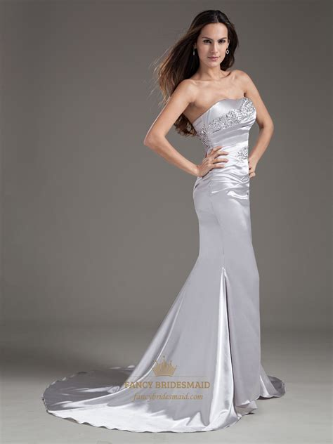 beaded strapless prom dress silver strapless sheath embellished beaded sweep