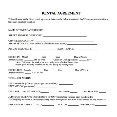 rental contract template sle rental contract template 7 free documents