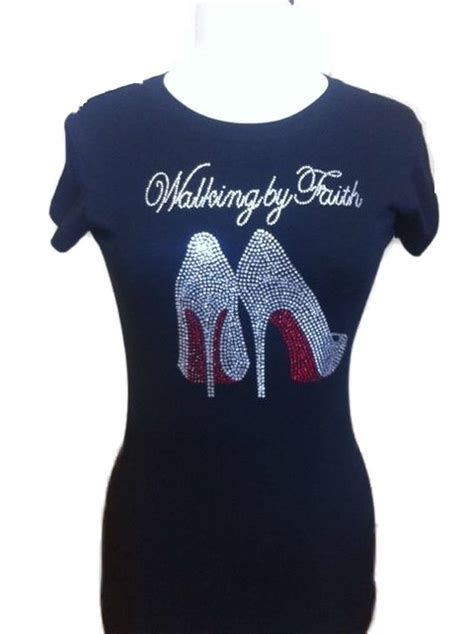 Handmade Shirts - walking by faith rhinestone t shirt the things of god t