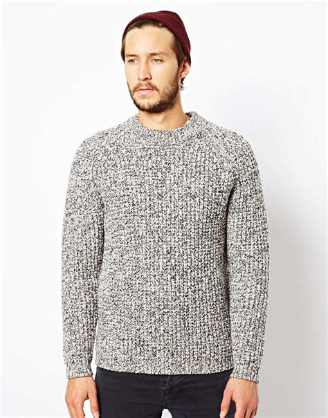 heavy knit asos knitted jumper with zip hem detail in gray for