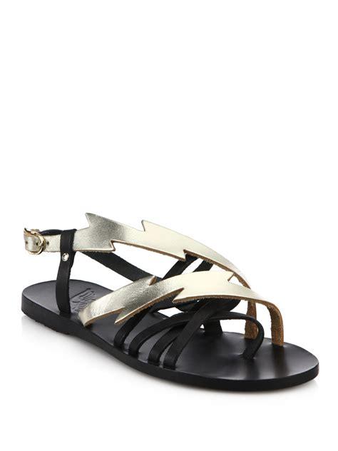 spartan sandals lyst ancient sandals kategida metallic leather