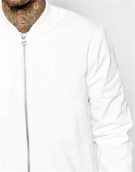 Asos Longline Bomber asos longline bomber jacket in white in white for lyst