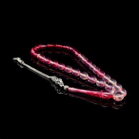 Tasbih Batu Alam Pink 33 pink tasbih with 925 sterling silver tassle tg 1031 boutique ottoman jewelry store