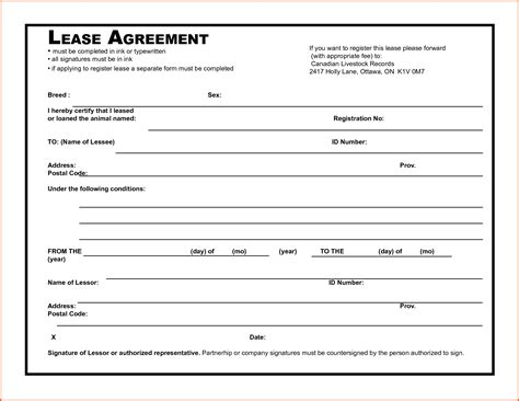 doc 12831658 8 free lease agreement template word