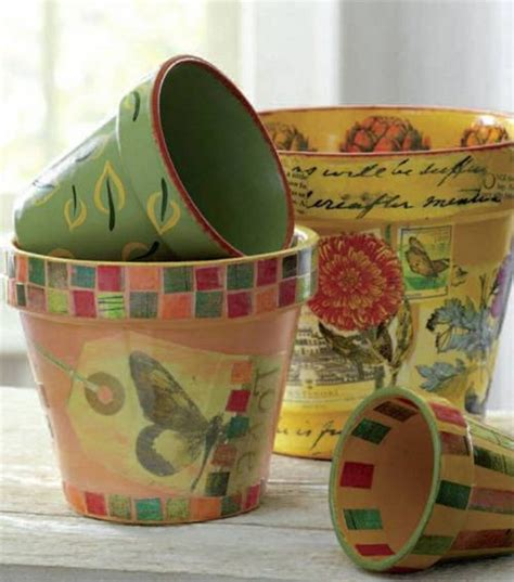 Decoupage Clay Pots Ideas - painted decoupage flower pots ideas for the truckload