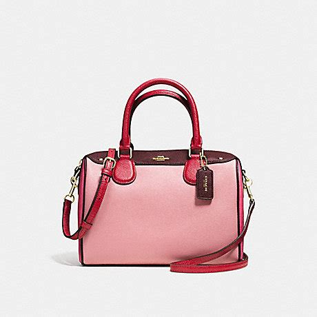 Mini Bennet Emboss Oxblood coach f57498 mini satchel in geometric colorblock crossgrain leather imitation gold