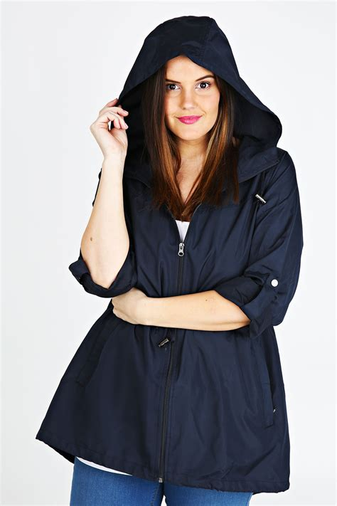 Jaket Parka Hoodie Pocket Navy Berkualitas navy shower resistant pocket parka jacket with plus size 16 to 32