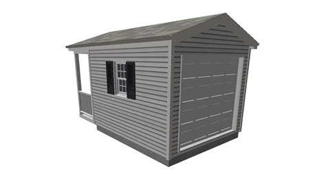 tool shed plans with porch 10 x 12