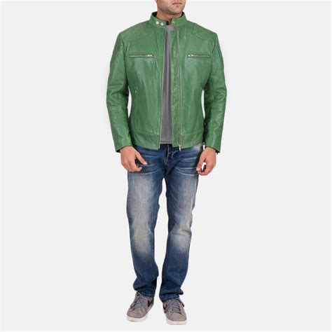Mens Green Leather mens gatsby green leather biker jacket