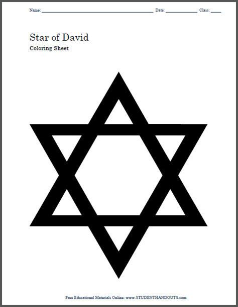 coloring page of star of david star of david coloring page and craft template for kids