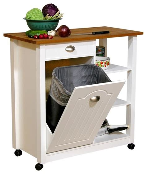 kitchen island with trash bin mobile kitchen island trash bin w 3 shelf pan